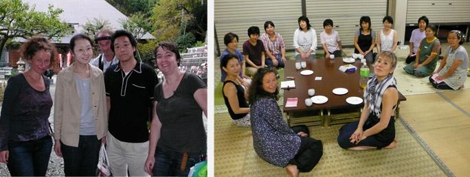 mevrouw en meneer Yokoyama bij Kokujoji-in tempel | tolk Yaemi Natumi, regisseur Aliona van der Horst en Tomoko Mukaiyama met de vrouwen uit het dorp Sanga Mura, Tokamachi, Niigata